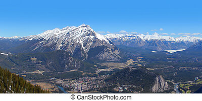 Banff Town view panorama from Sulphur Mountain
