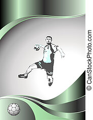 handball metal background - illustration of handball player