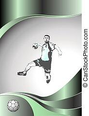 handball metal background - illustration of handball player