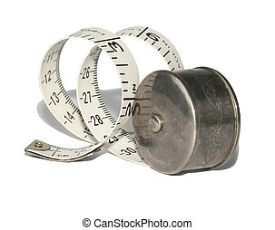 Antique silver holder with measuring tape - measuring tape...