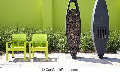 Terrassenf rmig kleingarten stock fotos und bilder for Kleingarten modern