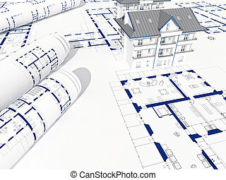 blue print and house - fine 3d image of house and blueprint