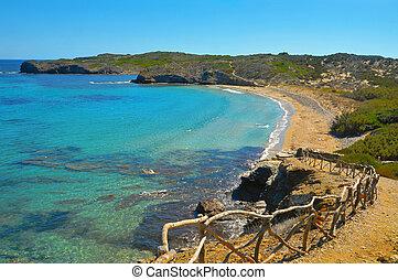 view of En Tortuga beach in Menorca, Balearic Islands, Spain