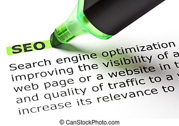 SEO highlighted in green with felt tip pen