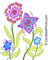 Fancy Flowers - Vector illustation of a patch of whimsical,...