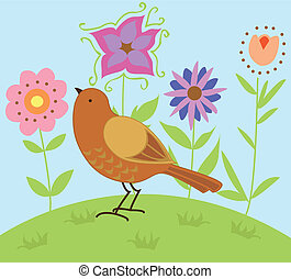Birdie - Stylized vector illustration of a brown bird...