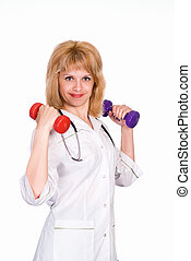 doctor keeping fit on a white background