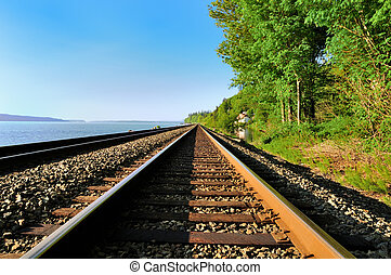 The railroad along the bay on the west coast of the USA.