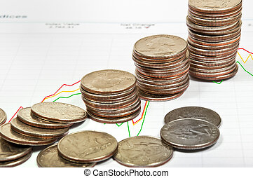 The stock price chart with coins. - The stock price chart...