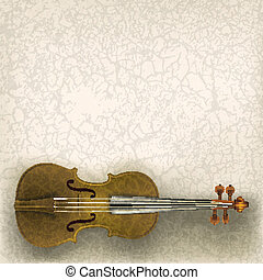 abstract grunge music background with violin on a beige