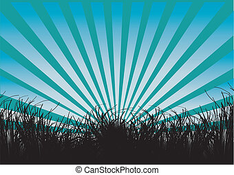 grass and rays silhouette - silhouette of grass and blue...
