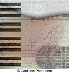 abstract music grunge background acoustic guitar and piano -...