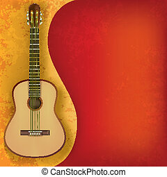 abstract music grunge background with guitar - abstract...