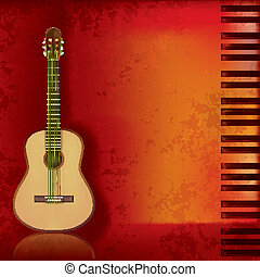 music grunge background acoustic guitar and piano - abstract...