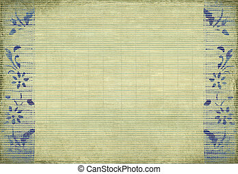 Blue flower slatted background - Blue flower print on grunge...