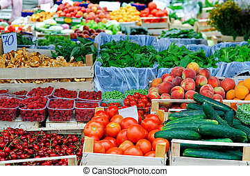 Farmer market place - Fresh fruits and vegetables at farmers...