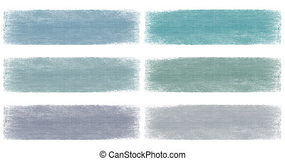 blues faded grunge banner set isolated