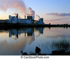 Paper pulp factory in Dryden - Factory with sunset colours...