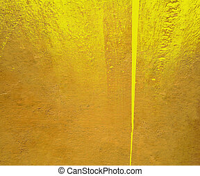 yellow gloss paint plaster with grunge jagged edge isolated