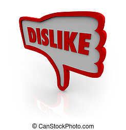Dislike Thumb Down Hand Icon Shows Displeasure - A red...