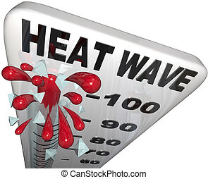 Heat Wave Temperatures on Thermometer - Close-up of a...