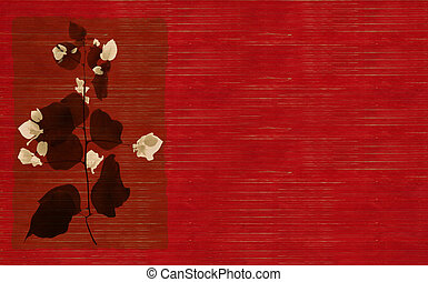Black and white flower print on red