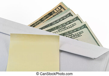 Money, envelope and sticker. Business concept. - Money, an...