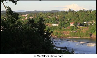 Mount Hood Willamette Falls - View of Mount Hood Willamette...