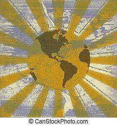 Global sunrise grunge background