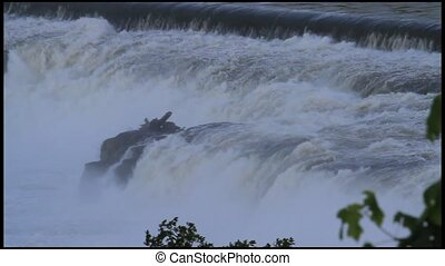 Willamette Falls Dam in Oregon City - Rushing High Water in...