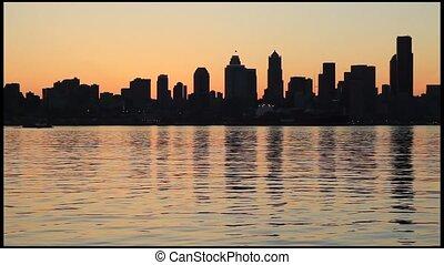 Seattle Skyline from Alki Beach - Seattle Downtown Skyline...