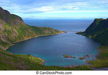 Djupfjord on the island of Moskenesoya on the Lofoten in...