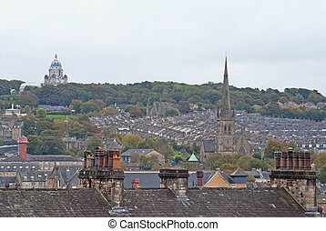 View of Lancaster city UK from castle hill