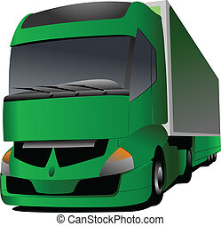 Vector illustration of green truck