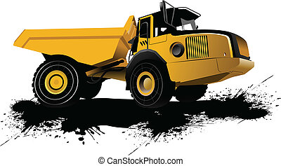 Isolated dump truck. Vector bllustration