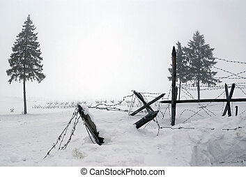 WWII barbwire defences in Winter (Stalin's Line memorial,...