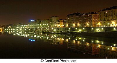 River Po, Turin - Fiume Po River Po in Turin, Italy - at...