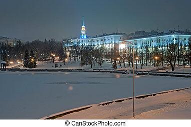 Evening Minsk (Belarus) in Winter