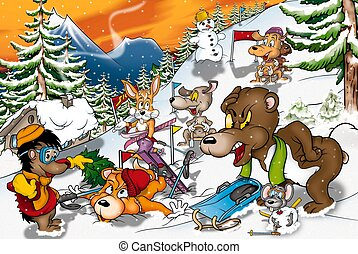 Animals in Winter - Cartoon Background Illustration, Bitmap