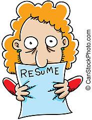 Resume Grip - A cartoon woman grasps her resume