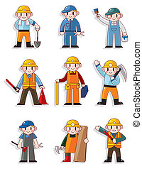 cartoon worker icon