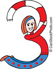 Side view of girl forming digit 3