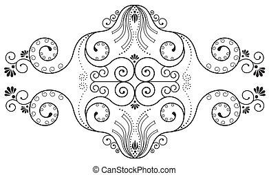 floral elements on white.Vegnette .Vector ornate