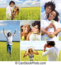 People in meadow - Collage of a couple in summer field
