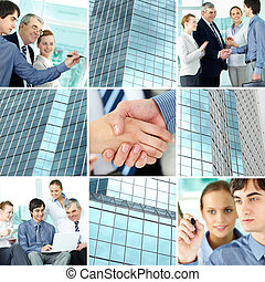 Business concept - Collage of business team and office...