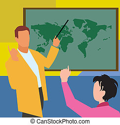 Teacher showing world map to student in geography class