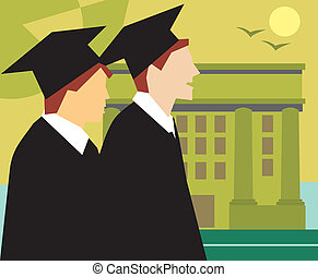 Side view of graduates standing by the university