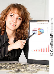 cute girl showing - young worker holds a list with pen
