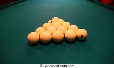 Billiard - Close-up of billiard balls on a green table