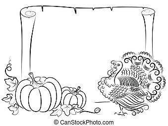Thanksgiving background Vector postcard with turkey
